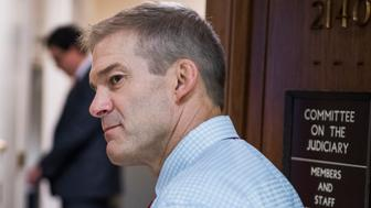 UNITED STATES - JULY 24: Rep. Jim Jordan, R-Ohio, talks with a reporter outside a House Judiciary Committee hearing in Rayburn Building on July 24, 2018. (Photo By Tom Williams/CQ Roll Call)