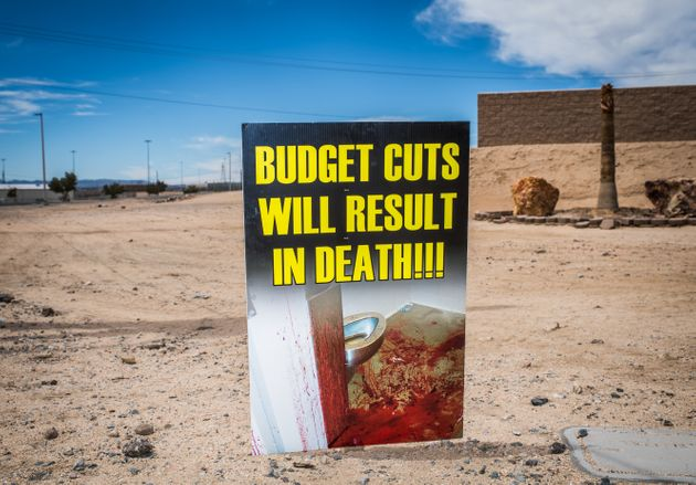 Victorville prison staffers protest the budget cuts they say are leading to unsafe conditions at the...