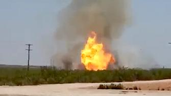 A series of natural gas pipeline explosions in Midland County Texas sent five people to hospital with critical burn injuries