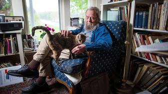WILMOT, NH - MAY 15: Poet Donald Hall poses for a portrait at his home in Wilmot, N.H. The home belonged to his great-grandparents and was built in 1803. (Photo by Aram Boghosian for The Boston Globe via Getty Images)