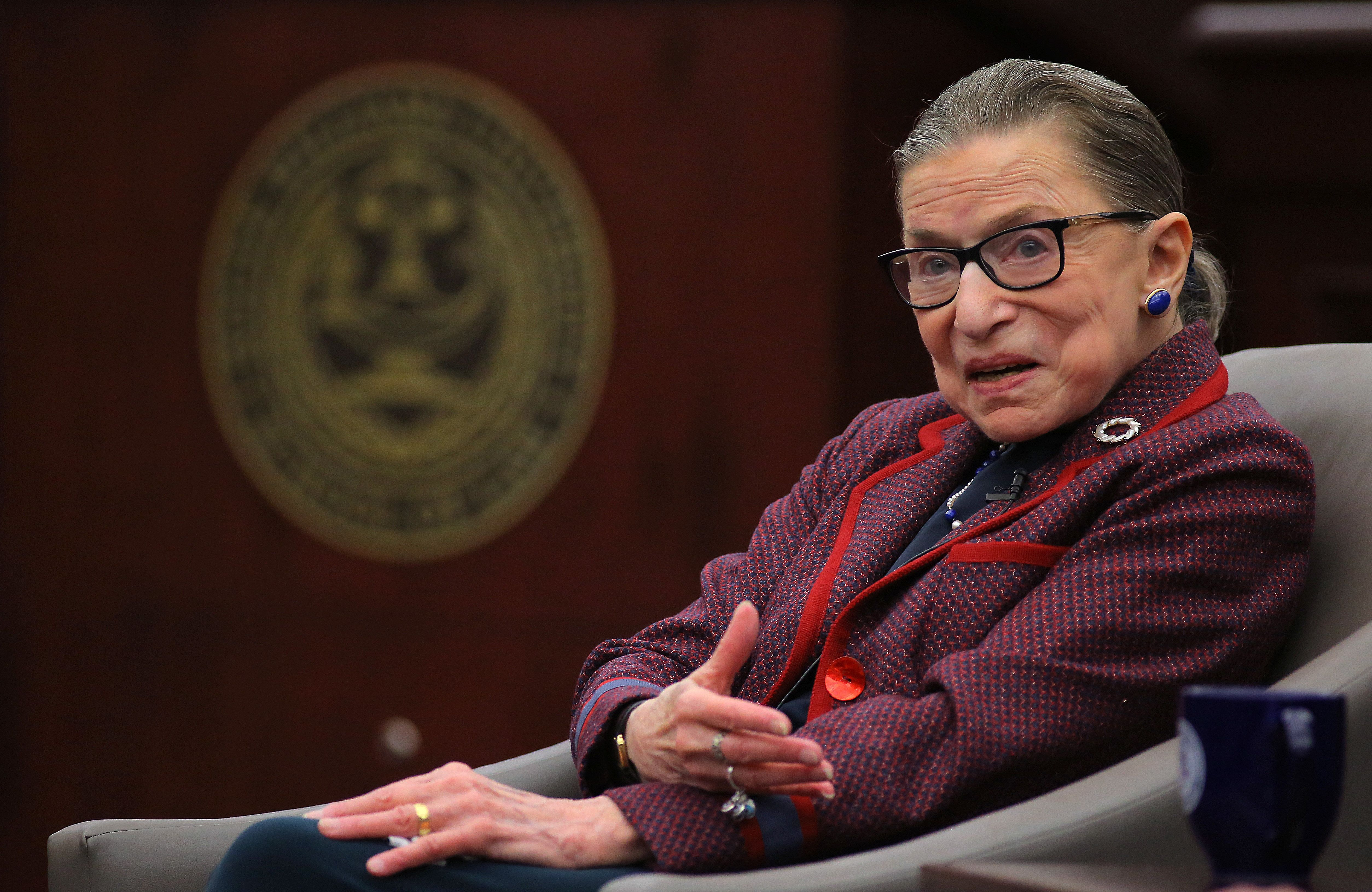 BRISTOL, RI - JANUARY 30: United States Supreme Court Justice Ruth Bader Ginsburg answers audience questions during an event at Roger Williams University Law School in Bristol, RI on Jan. 30, 2018. (Photo by Pat Greenhouse/The Boston Globe via Getty Images)