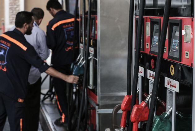 Une pompe à essence à Gaza après le blocage de la fourniture de carburant par Israël,...