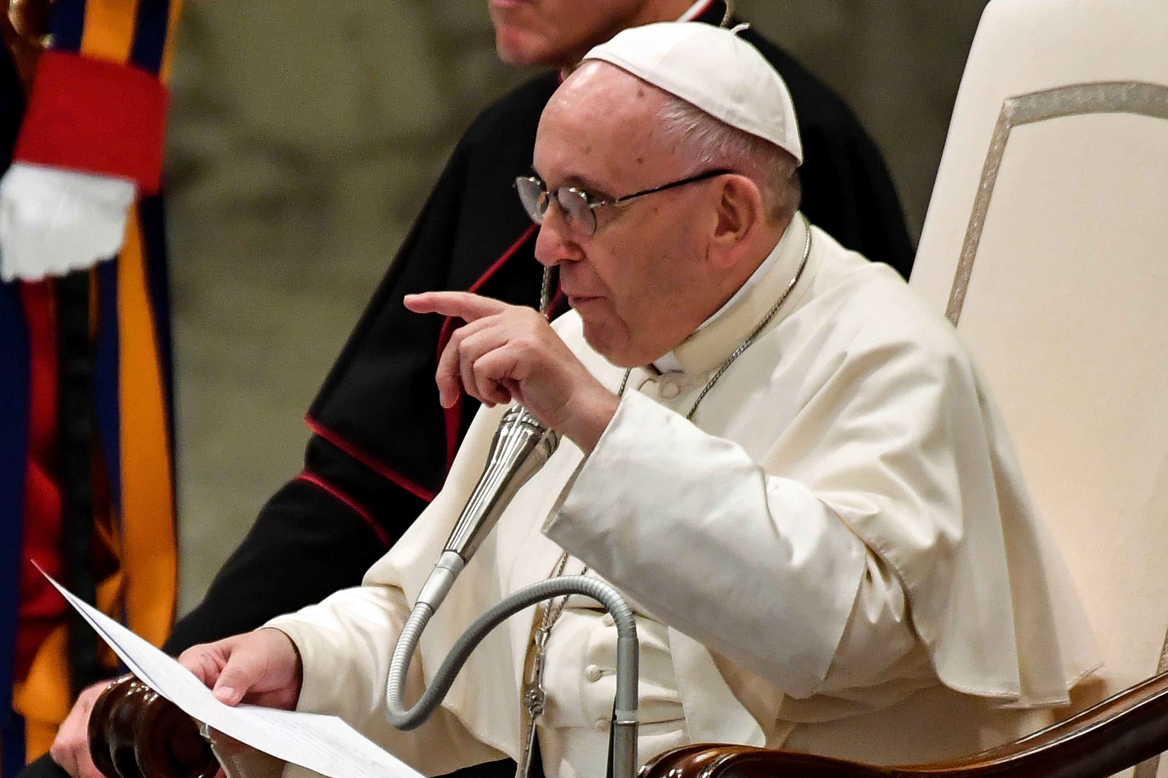 Pope Francis speaks during his weekly general audience at Aula Paolo VI (Paul VI Audience Hall) at the Vatican on August 1, 2018. (Photo by Andreas SOLARO / AFP)        (Photo credit should read ANDREAS SOLARO/AFP/Getty Images)