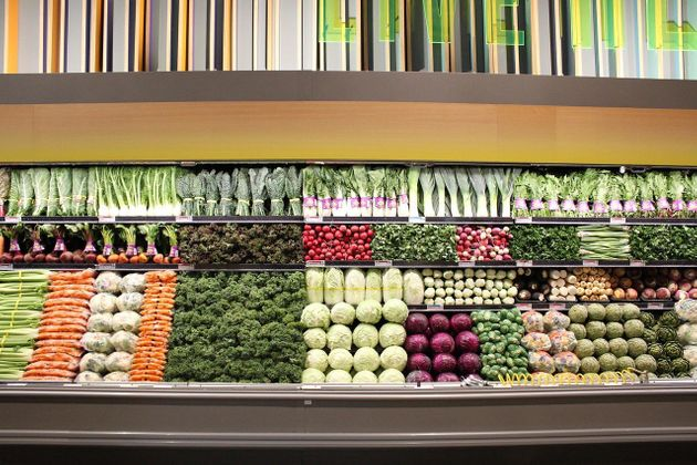 A pristinely organized produce wall at Whole Foods in Burbank,