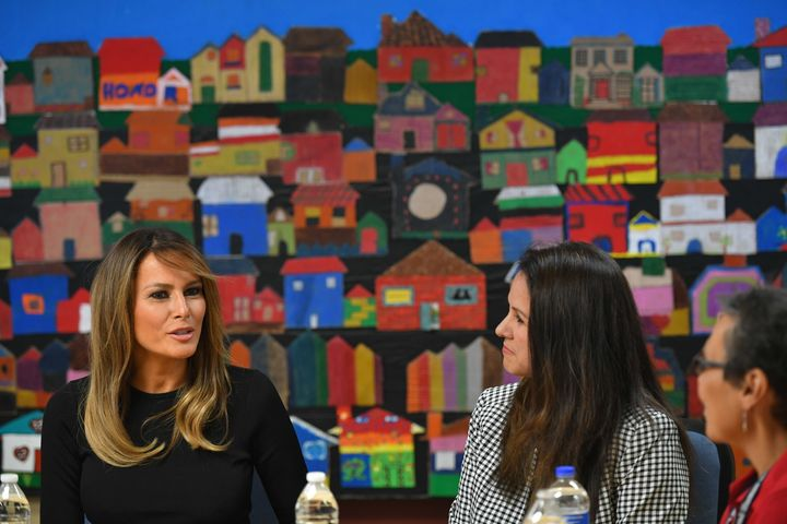 First lady Melania Trump visits a Southwest Key immigrant children's shelter in Phoenix on June 28. There have been a n