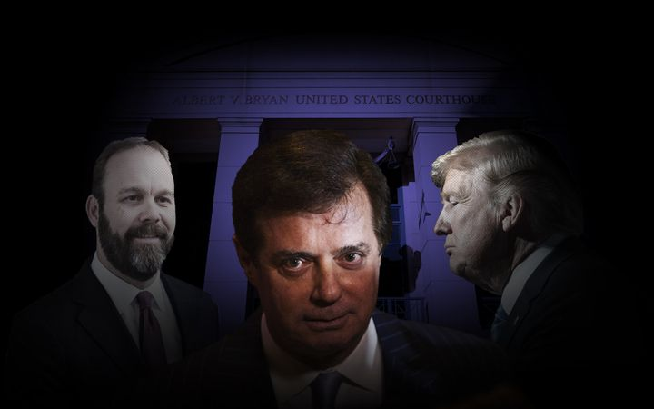 Rick Gates, left, Paul Manafort and Donald Trump.