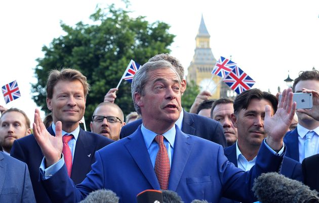 Nigel Farage celebrates the 51.9% to 48.1% Leave-Remain result in
