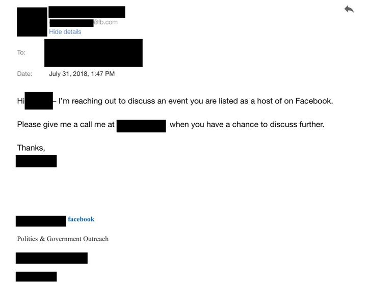 A screenshot of an email Facebook sent to activists.