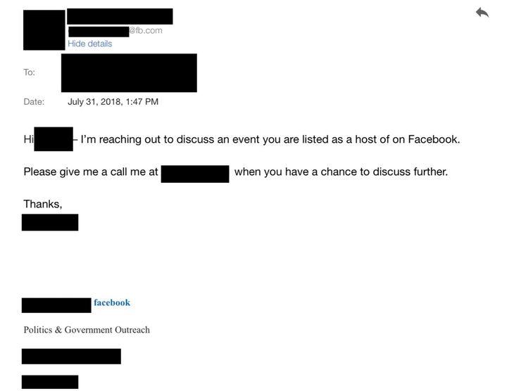 A screenshot of an email Facebook sent to activists.