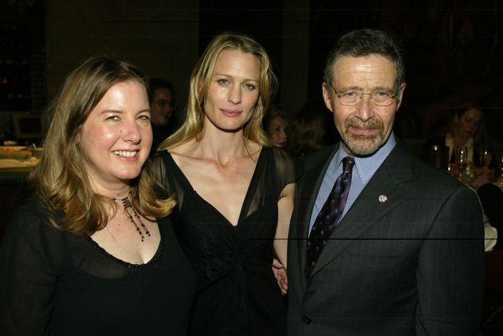 """Janet Fitch (left) after the premiere of the film """"White Oleander"""" in Los Angeles in 2002, with Robin Wright, who"""