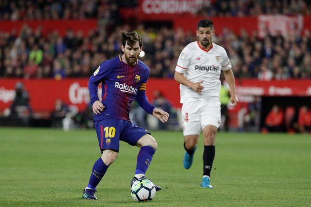 Lionel Messi (FC Barcelone) pendant le match contre le FC Séville, le 31 mars 2018 à Séville,