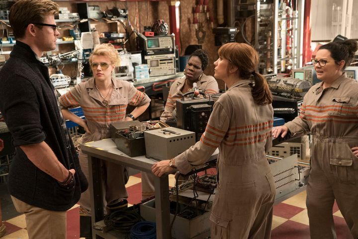 "Chris Hemsworth, Kate McKinnon, Leslie Jones, Melissa McCarthy and Kristen Wiig in ""Ghostbusters."""