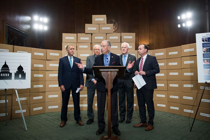 Republican Senate Judiciary Committee members standing with boxes representing roughly 1 million pages of documents on Suprem