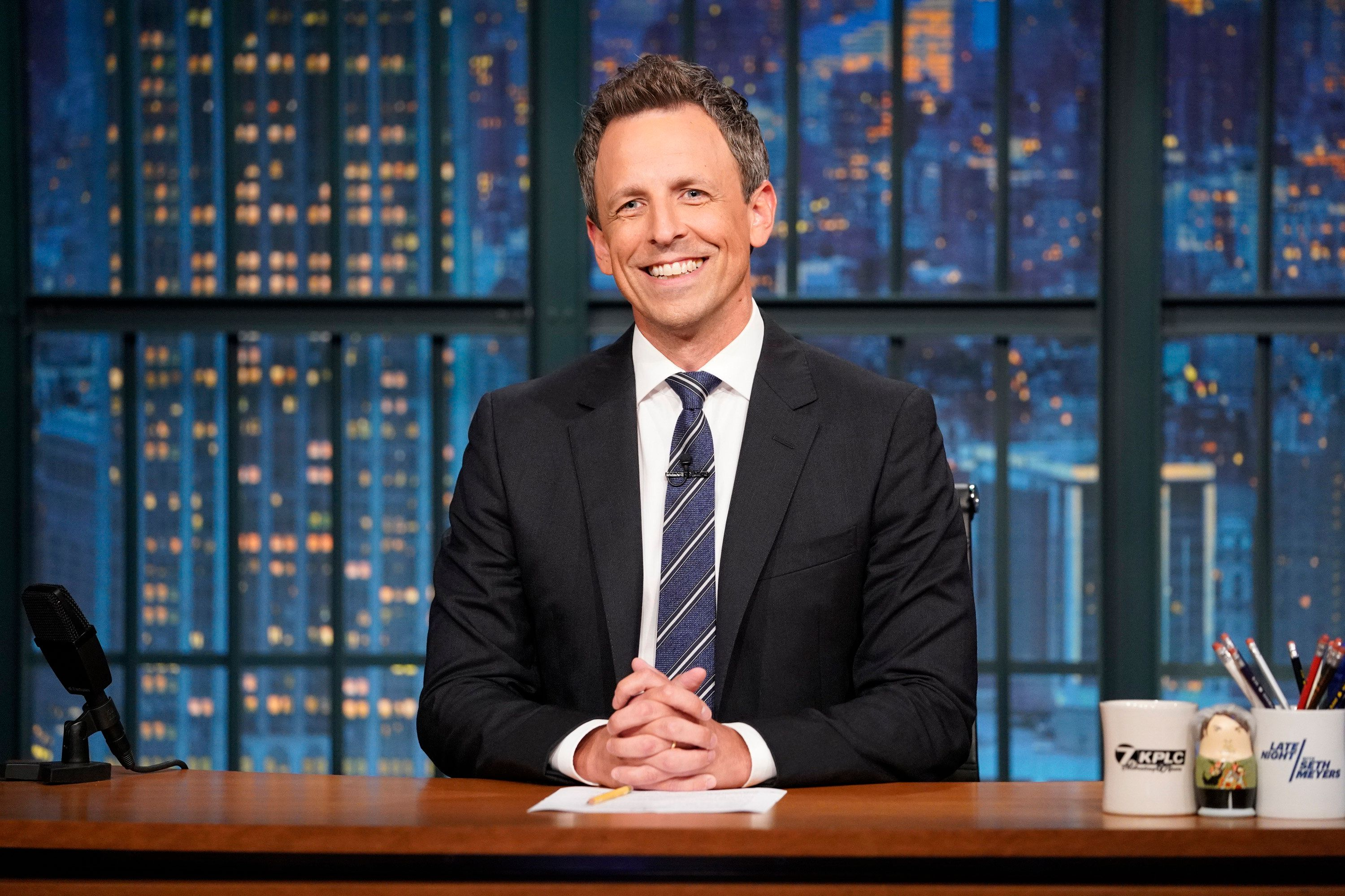 LATE NIGHT WITH SETH MEYERS -- Episode 698 -- Pictured: Host Seth Meyers during the monologue on July 26, 2018 -- (Photo by: Lloyd Bishop/NBC/NBCU Photo Bank via Getty Images)