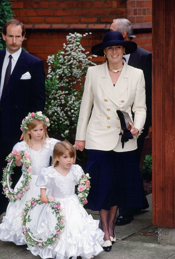 The Duchess of York with her daughters at their former nanny Alison Wardley's wedding.