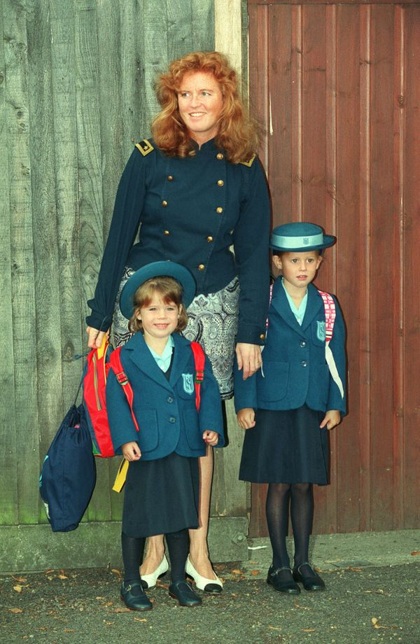 The princesses with their mother, the Duchess of York (the former Sarah Ferguson), at Upton House school, in Windsor, England