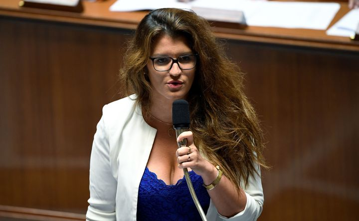 French Minister for Gender Equality Marlene Schiappa speaks during a session of questions to the government at the National A