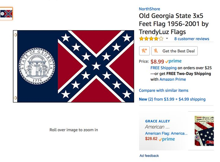 Amazon has not removed products featuring Confederate flags, even though its seller policy prohibits such items.