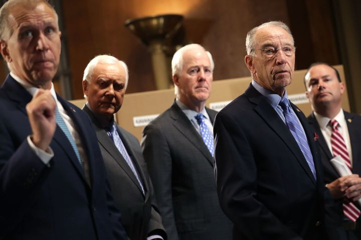 Republican members of the Senate judiciary committee Thom Tillis (N.C.), Orrin Hatch (Utah), John Cornyn (Texas), Chairman Ch