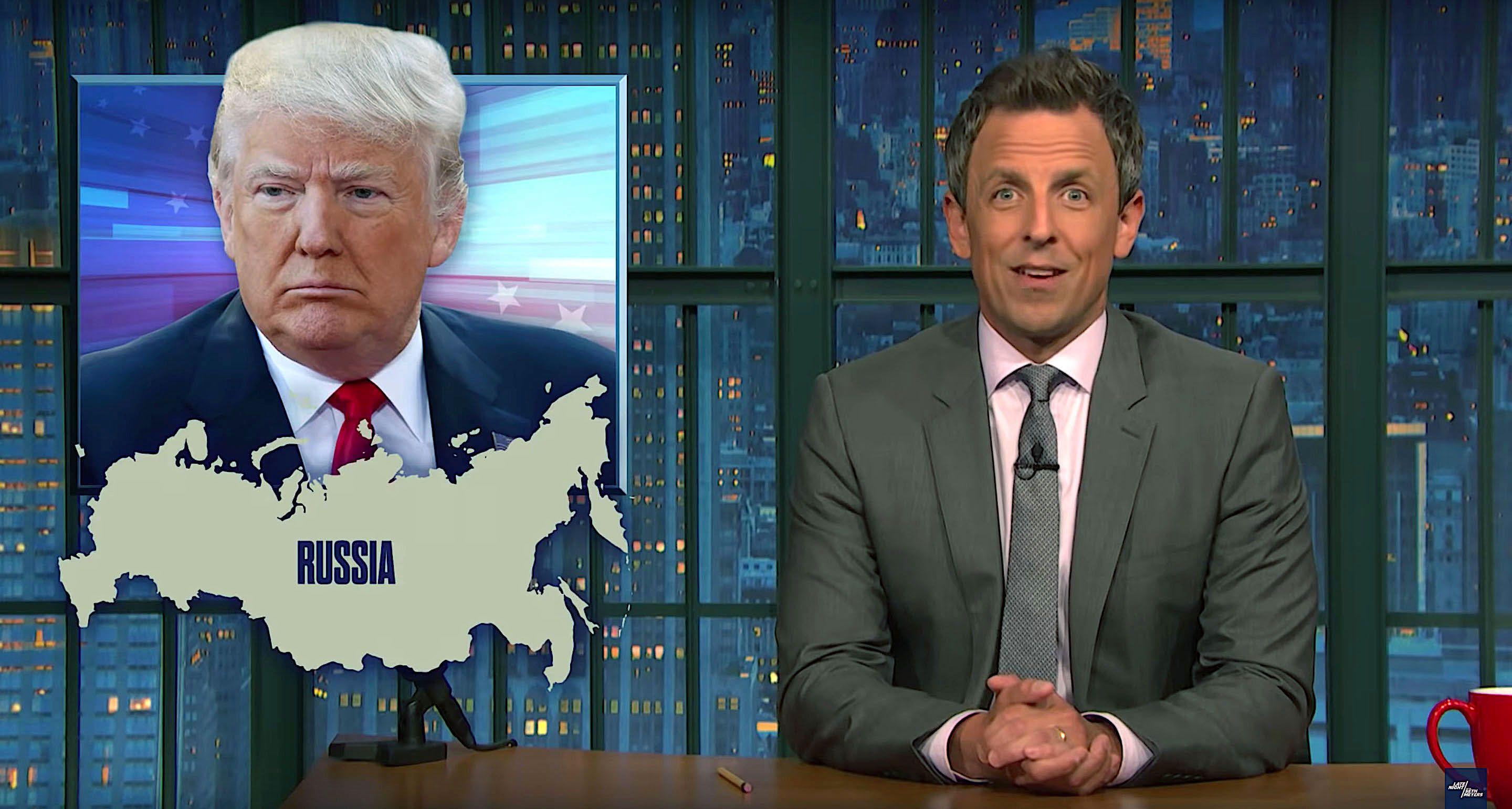 Seth Meyers of Late Night says President Donald Trump is feeling the pressure of the Russia investigation