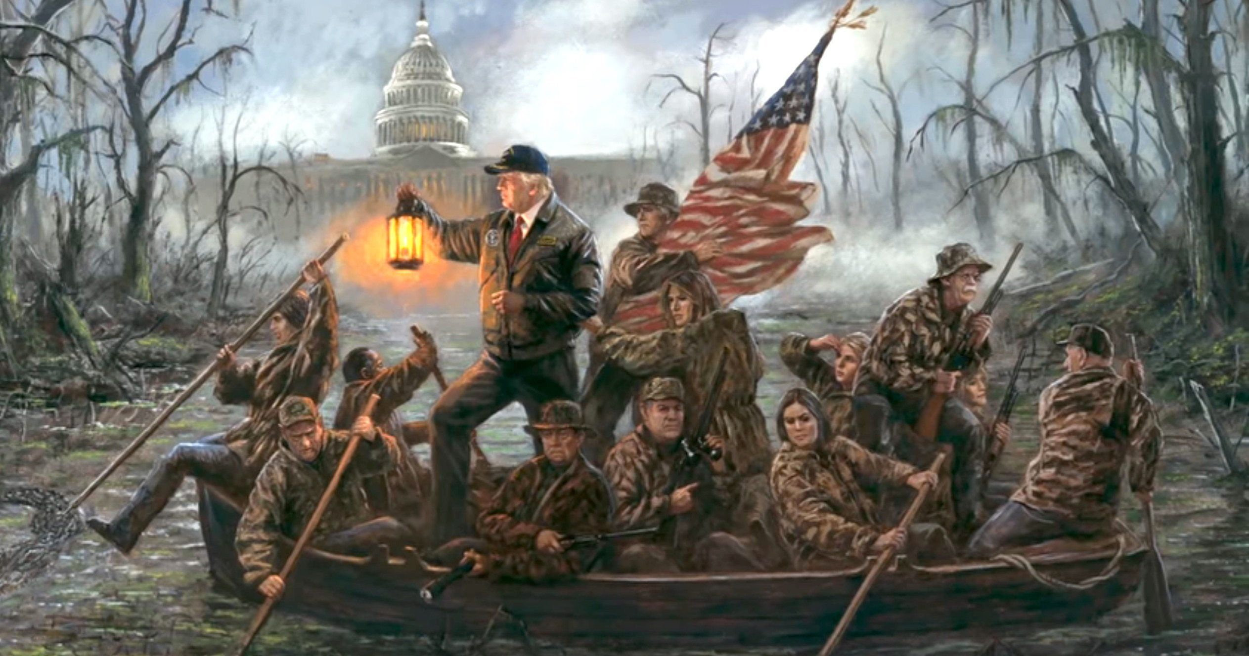Trump Crossing the Swamp
