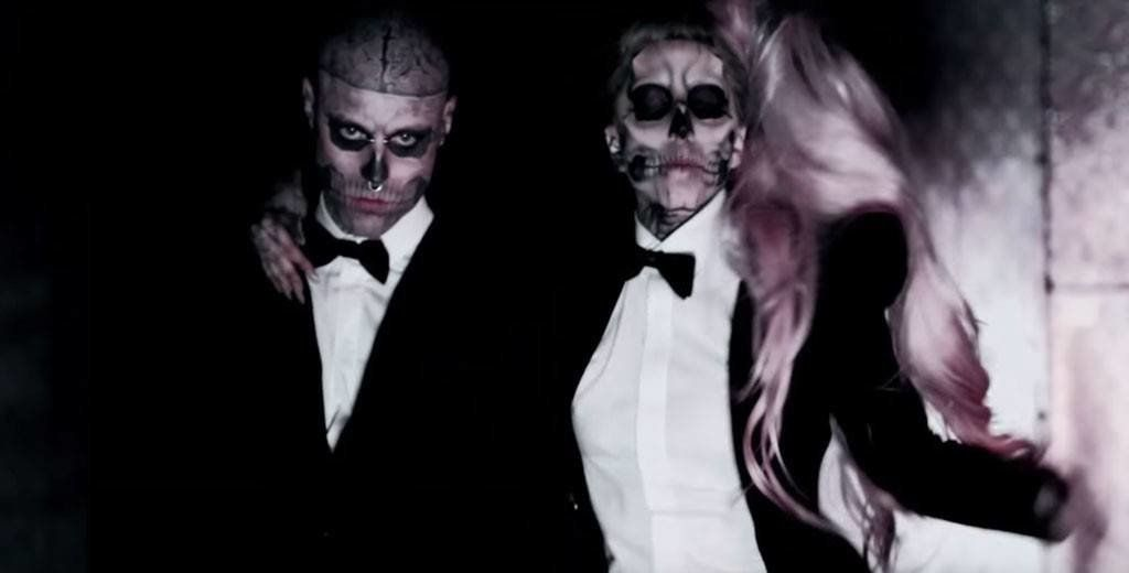 Rick Genest and Lady Gaga in the video for 'Born This