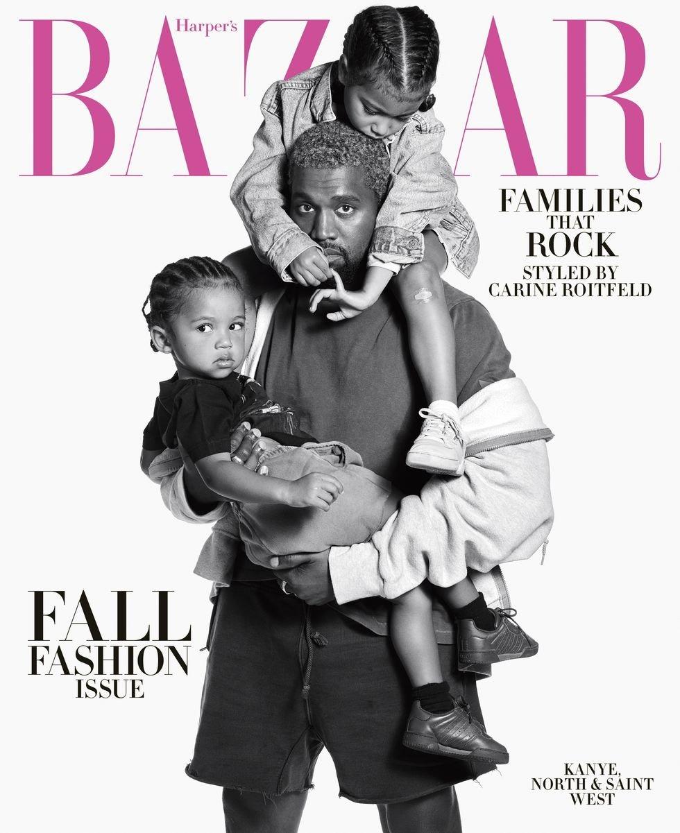 Kanye West en papa poule avec ses enfants en couverture d'Harper's Bazaar