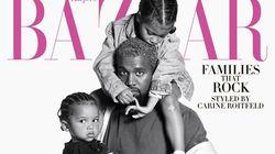 Kanye West en papa poule avec ses enfants en couverture d'Harper's