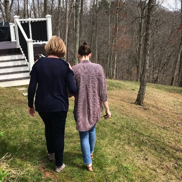 Walking with mom at home in West Virginia
