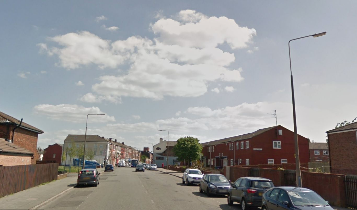 The baby boy was found on Breckfield Road North, Liverpool, at