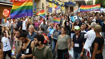 Thousands of people take part in the Annual Gay Pride Parade in Jerusalem, on Aug. 2, 2018. (Photo by Gili Yaari/NurPhoto via Getty Images)