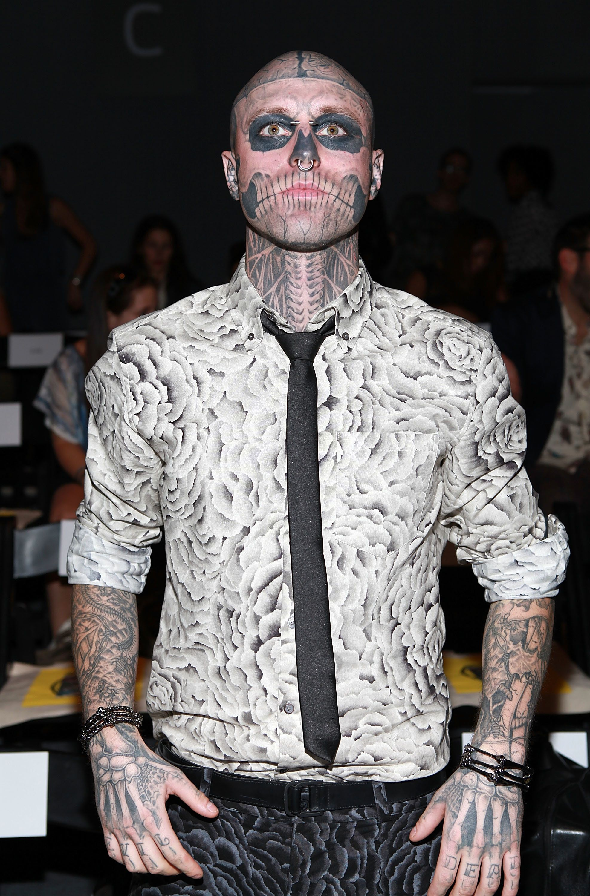 NEW YORK, NY - SEPTEMBER 09:  Rick 'Zombie Boy' Genest attends the Timo Weiland show during Spring 2013 Mercedes-Benz Fashion Week at The Studio Lincoln Center on September 9, 2012 in New York City.  (Photo by Robin Marchant/WireImage)