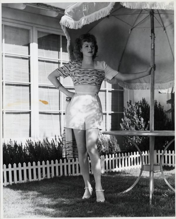 Ball is shown here posing in casual attire at her San Fernando Valley ranch home.