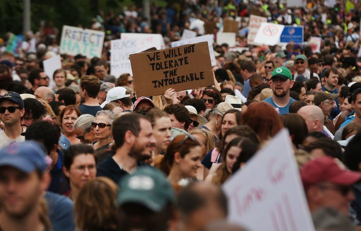 "Thousands of protesters gathered in Boston last year to march against a planned ""Free Speech Rally"" just one week after the v"