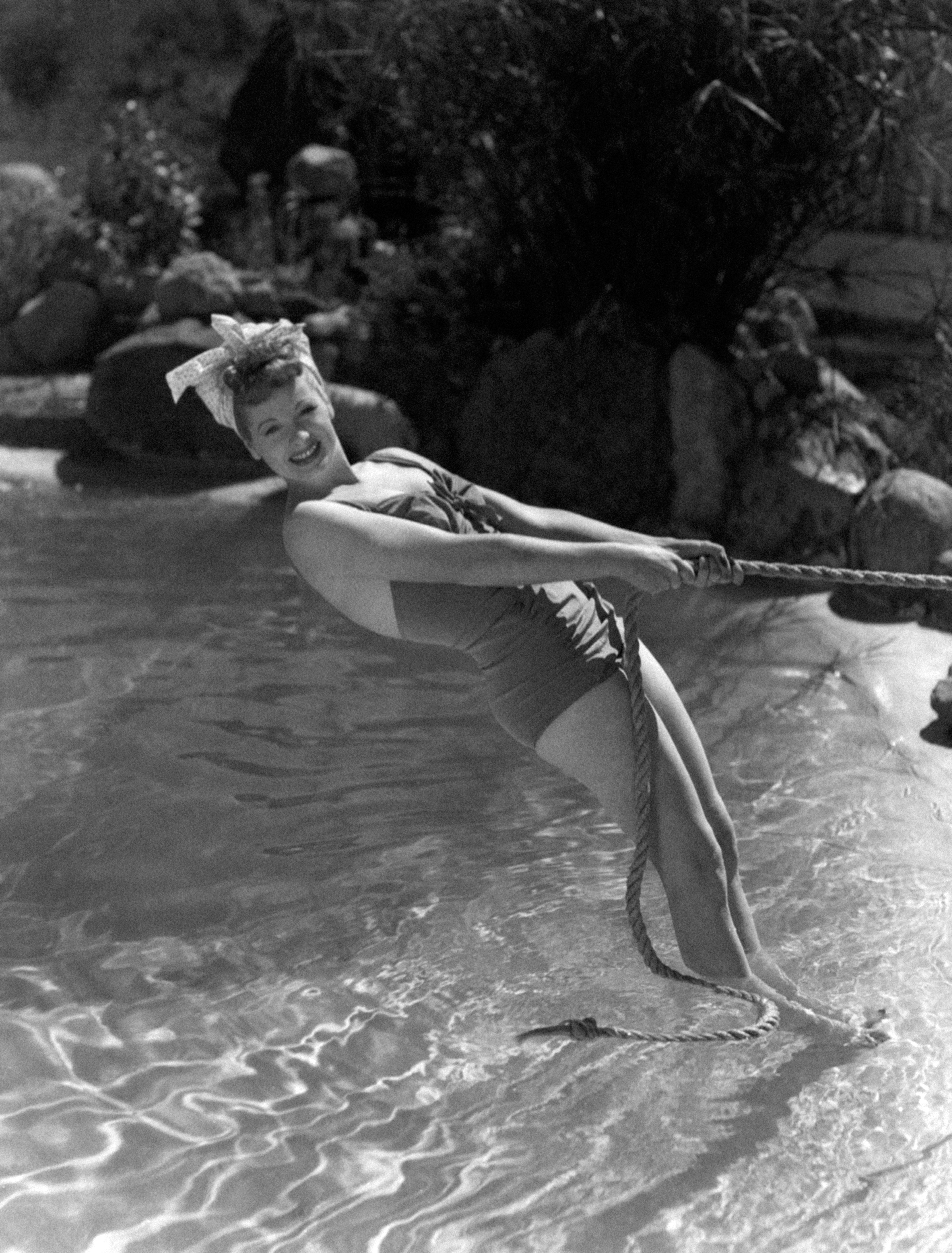 Portrait of American actress Lucille Ball (Lucille D�ir� Ball) wearing a swimsuit. 1940s (Photo by Mondadori Portfolio by Getty Images)