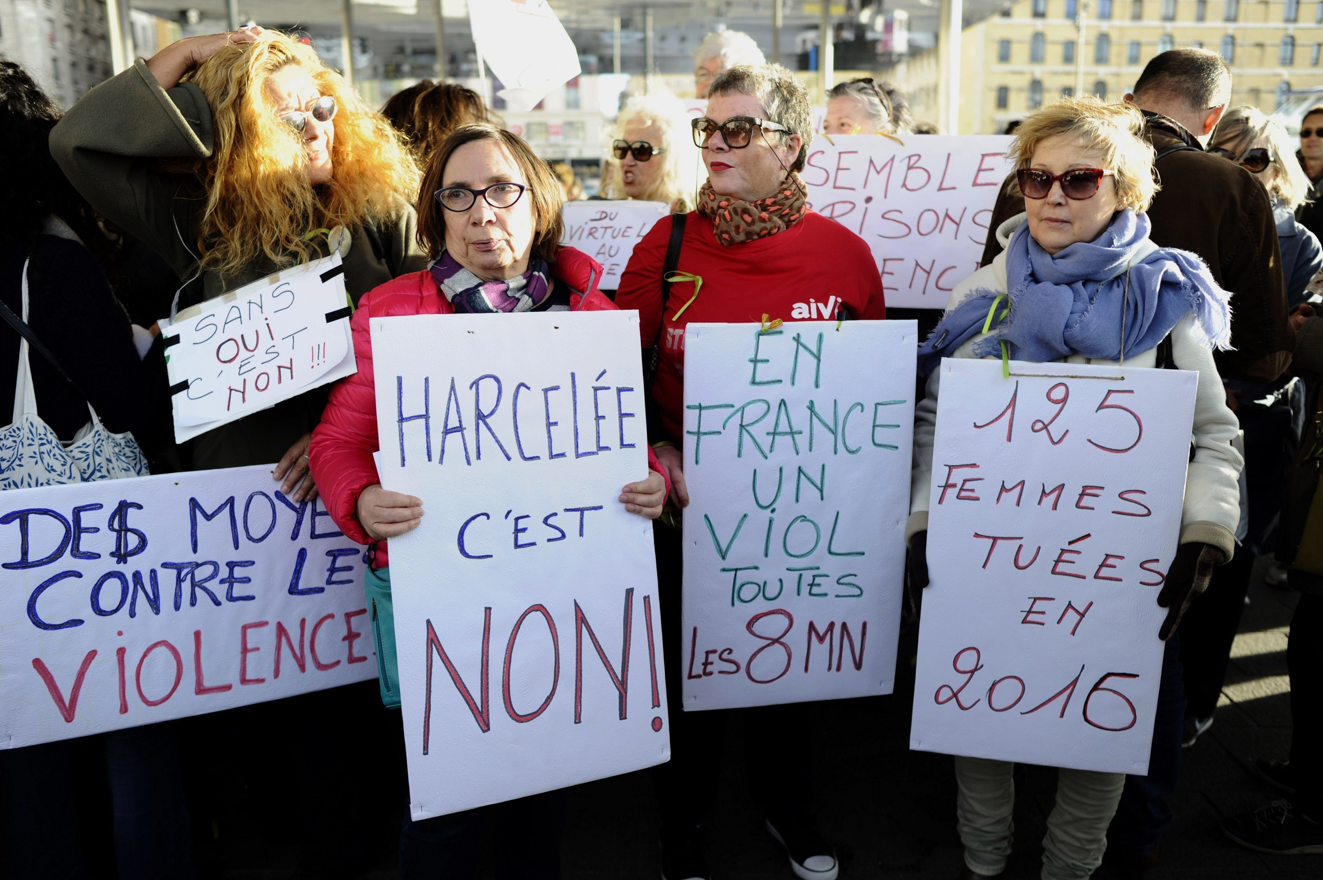 Women gather at the Old Port of Marseille, southern France, on Oct. 29, 2017, to denounce harassment and the sexual violence