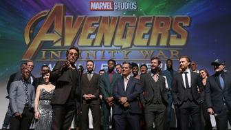 HOLLYWOOD, CA - APRIL 23:  Actor Robert Downey Jr. and cast & crew of 'Avengers: Infinity War' attend the Los Angeles Global Premiere for Marvel Studios' Avengers: Infinity War on April 23, 2018 in Hollywood, California.  (Photo by Jesse Grant/Getty Images for Disney)