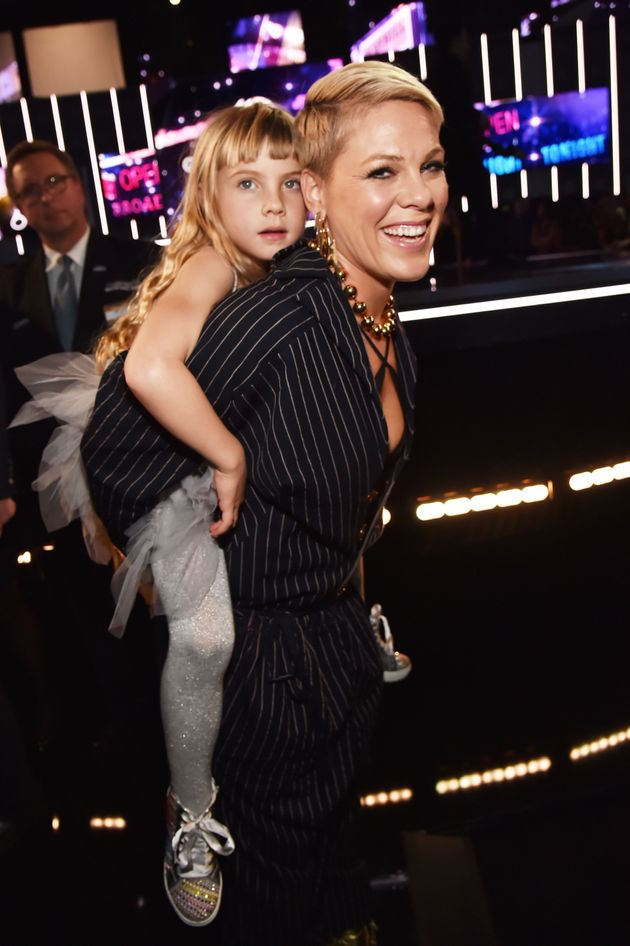 Pink (R) and her daughter Willow Hart attend the 60th Annual GRAMMY