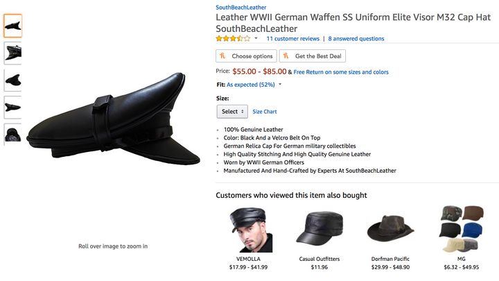 Amazon did not remove some Nazi items, such as a hat for an officer of the Waffen SS, the armed wing of the Nazi Party.