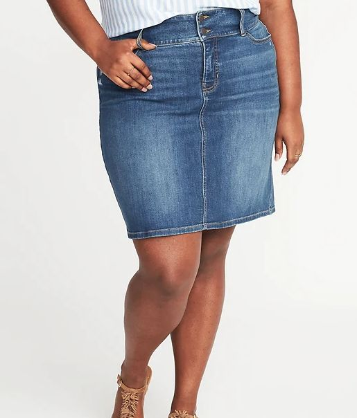 5d0e0d4689 11 Flattering Plus-Size Denim Skirts For Women With Curves ...