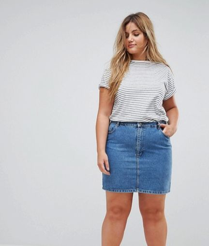 3640a215f ASOS DESIGN Curve Denim Original High Waisted Skirt In Midwash Blue. ASOS