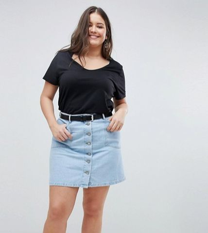 27f565b45 11 Flattering Plus-Size Denim Skirts For Women With Curves ...