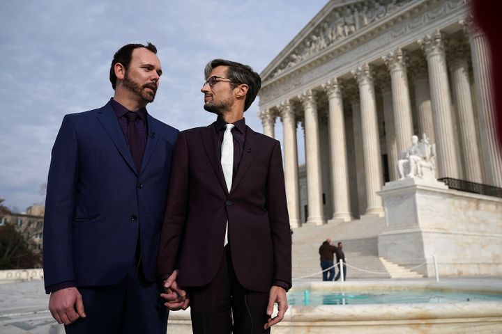 Charlie Craig (left) and Dave Mullins (right), the gay couple who were denied having their wedding cake baked by cake artist