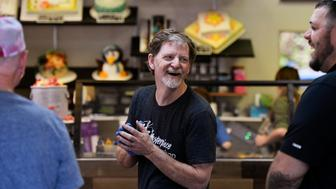 LAKEWOOD, CO - JUNE 4: Baker Jack Phillips, owner of Masterpiece Cakeshop, accepting congratulations and thanks in his Lakewood shop after the U.S. Supreme Court voted 7-2 in his favor saying his religious beliefs did not violate Colorado's anti-discrimination law after refusing to make a wedding cake for a same-sex couple . June 4, 2018 Lakewood, Colorado. (Photo by Joe Amon/The Denver Post via Getty Images)