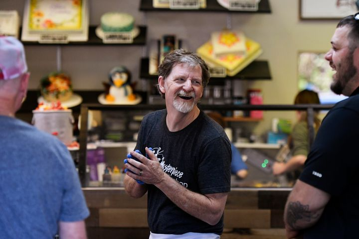 Baker Jack Phillips, owner of Masterpiece Cakeshop, accepts congratulations and thanks in his Colorado shop after the U.S. Su