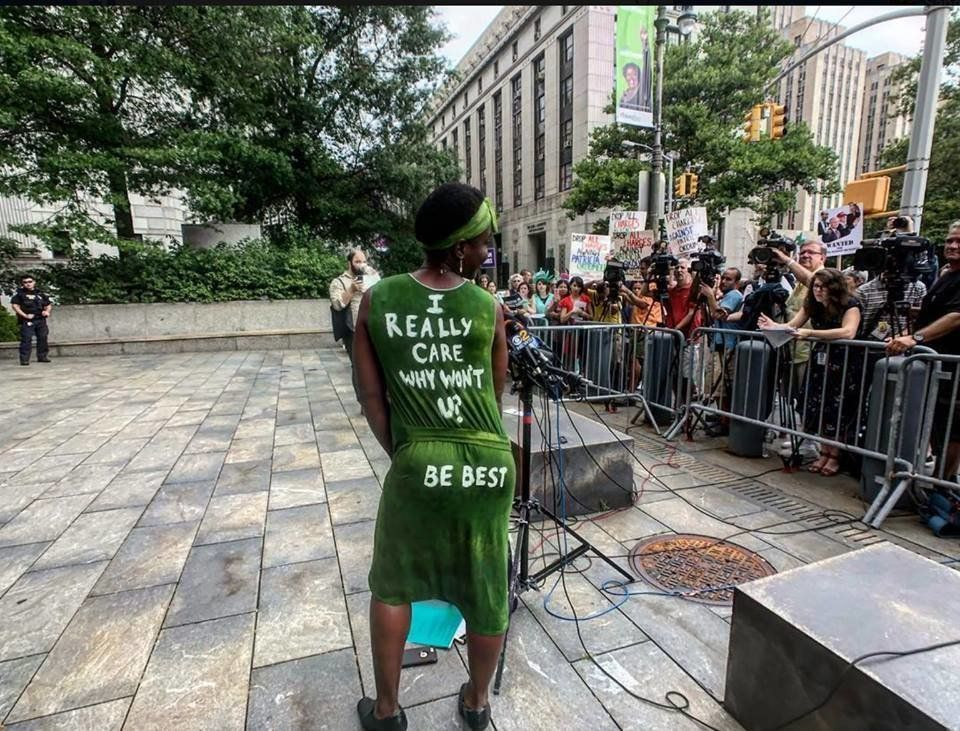 The dress protester Patricia Okoumou wore to court Friday