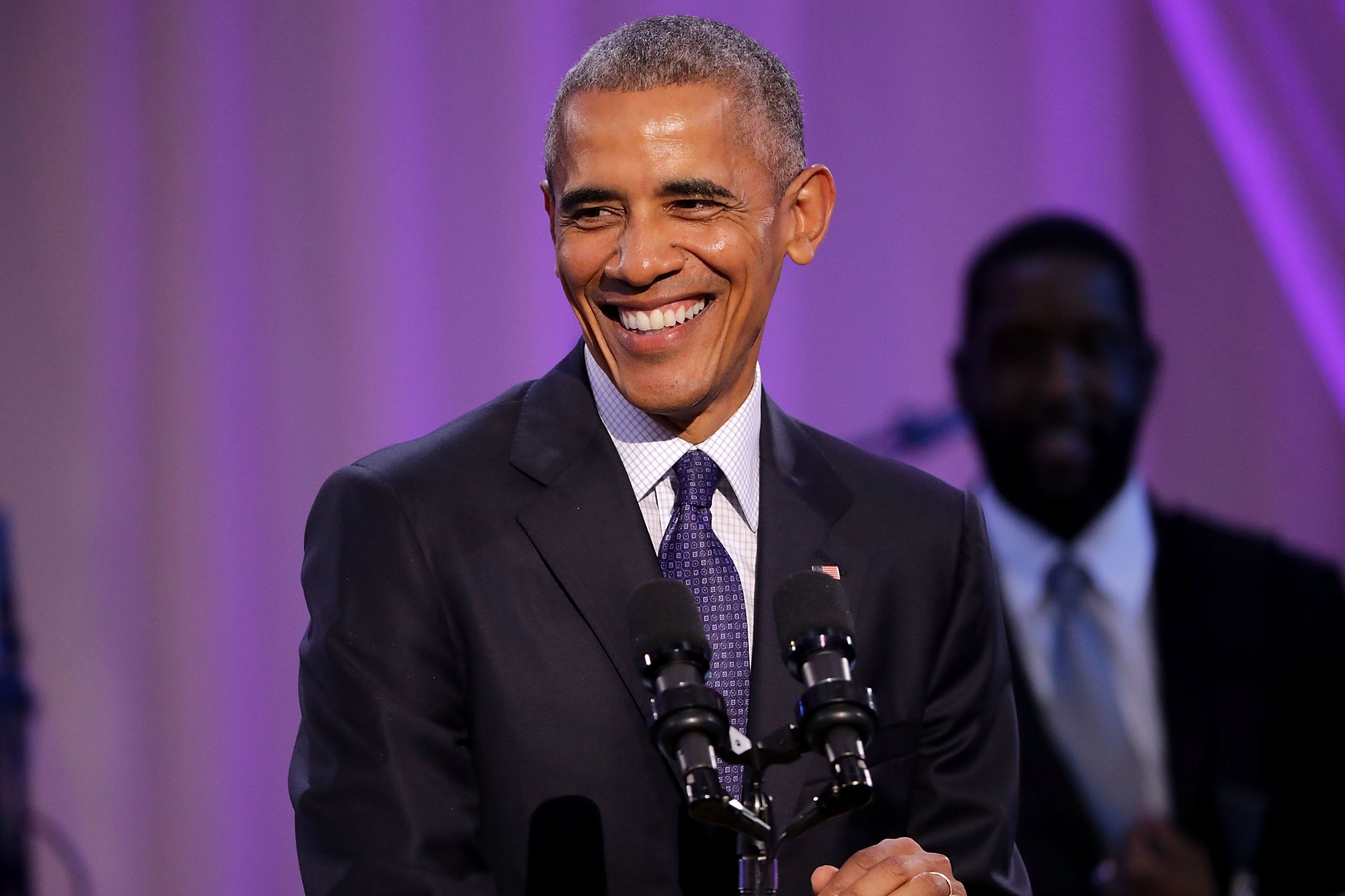 WASHINGTON, DC - OCTOBER 21:  U.S. President Barack Obama delivers remarks during the BET's 'Love and Happiness: A Musical Experience' in a tent on the South Lawn of the White House October 21, 2016 in Washington, DC. The show will feature performances by Usher, Jill Scott, Common, The Roots, Bell Biv DeVoe, Janelle Monae, De La Soul, Yolanda Adams, Michelle Williams and Kiki Sheard, along will appearances by actors Samuel L. Jackson, Jesse Williams and Angela Bassett.  (Photo by Chip Somodevilla/Getty Images)