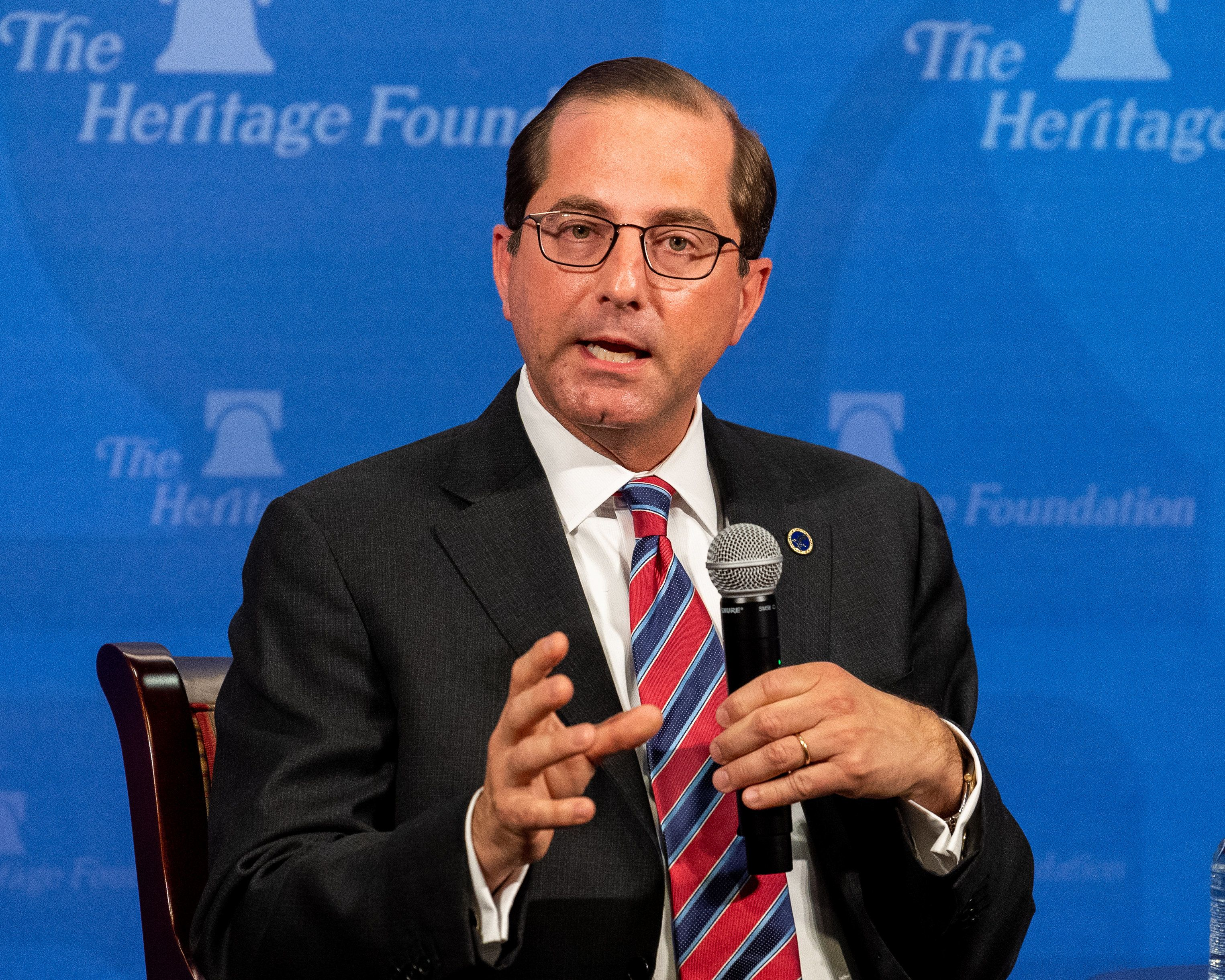 WASHINGTON, DC, UNITED STATES - 2018/07/26: Alex Azar, Secretary, U.S. Department of Health and Human Services, speaking at the Heritage Foundation in Washington, DC. (Photo by Michael Brochstein/SOPA Images/LightRocket via Getty Images)
