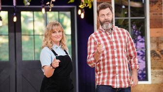 MAKING IT -- 'You Crafty' Episode 101 -- Pictured: (l-r) Amy Poehler, Nick Offerman -- (Photo by: Paul Drinkwater/NBC/NBCU Photo Bank via Getty Images)