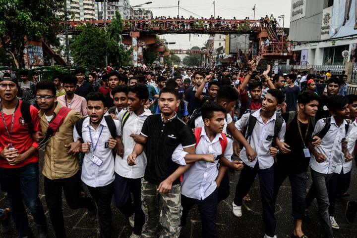The protest is in the wake of two college students' deaths in a road accident. Bangladesh Prime Minister Sheikh Hasina urged